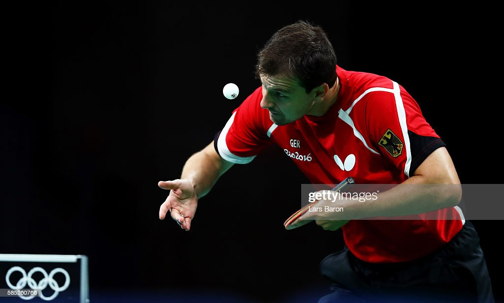 Timo Boll of Germany practices during a training session for table tennis at the Rio Centro Pavilion for the 2016 Summer Olympic Games on August 2, 2016 in Rio de Janeiro, Brazil.