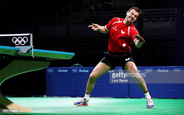 Timo Boll of Germany practices during a training session for table tennis at the Rio Centro Pavilion for the 2016 Summer Olympic Games on August 2...