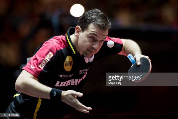 Timo Boll of Germany serves during Men's eightfinals at Table Tennis World Championship at Messe Duesseldorf on June 3 2017 in Dusseldorf Germany