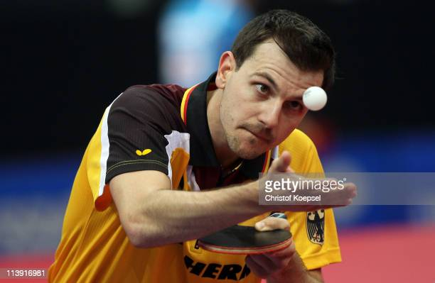 Timo Boll of Germany serves during the first round Men's Single match against Kenji Matsudaira of Japan during the World Table Tennis Championships...