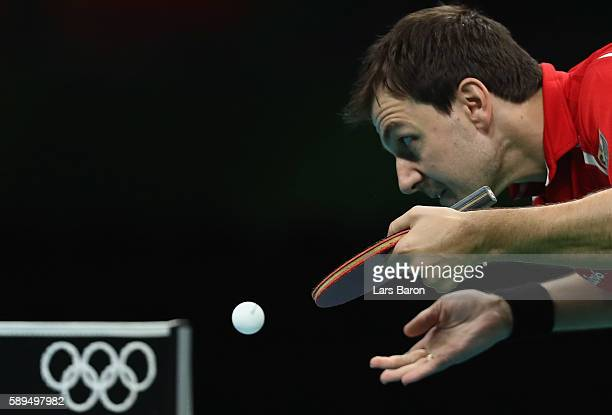 Timo Boll of Germany serves during the Table Tennis Men's Quarterfinal Match between Germany and Austria on August 14 2016 in Rio de Janeiro Brazil