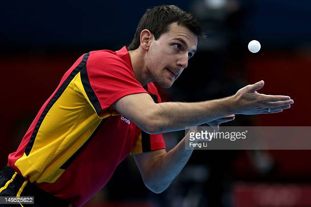Timo Boll of Germany serves the ball during his Men's Singles Table Tennis third round match against Noshad Alamiyan of Islamic Republic of Iran on...