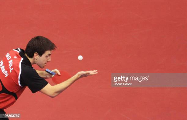 Timo Boll of Germany serves to Jun Mizutani of Japan during their Table Tennis World Cup 2010 3rd place match at the Boerdeland Hall on October 31...