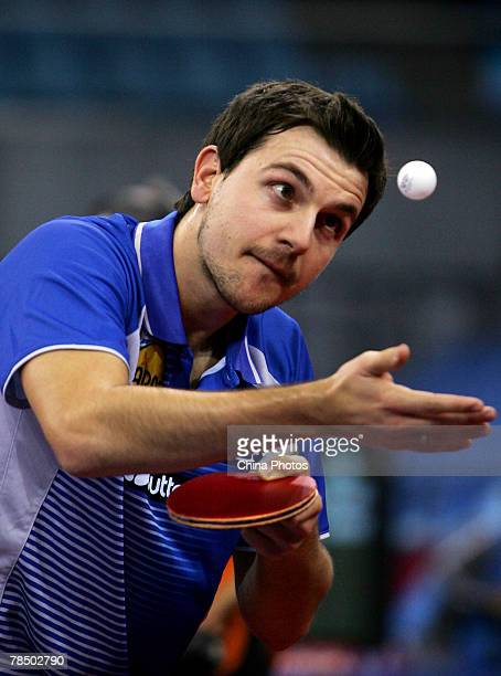 Timo Boll of Germany serves to Ma Lin of China during their quarterfinal in the Good Luck Beijing 2007 Volkswagen Pro Tour Grand Finals part of the...