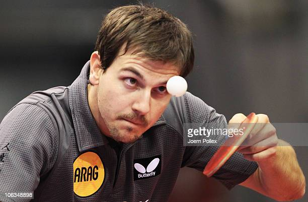 Timo Boll of Germany serves to Ning Gao of Singapore during their Table Tennis World Cup 2010 match at the Boerdeland Hall on October 29 2010 in...