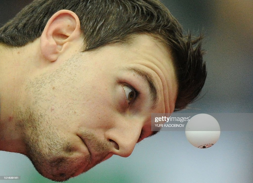 Timo Boll of Germany serves to Seung Min Ryu of Korea during the men's semi final at the 2010 World Team Table Tennis Championships in Moscow on May 29, 2010.