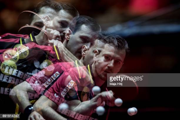 Timo Boll of Germany warms up prior Men's eightfinals at Table Tennis World Championship at Messe Duesseldorf on June 3 2017 in Dusseldorf Germany