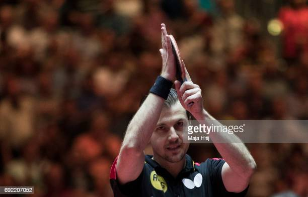 Timo Boll of Germany waves after men's quarter final at Table Tennis World Championship at at Messe Duesseldorf on June 4 2017 in Dusseldorf Germany