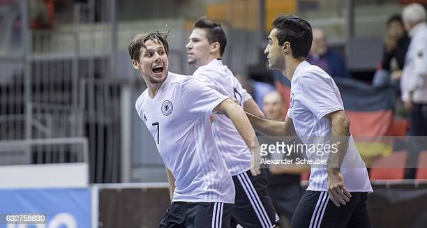 Timo Di Giorgio of Germany celebrates the opening goal for his team with his team mates during the UEFA Futsal European Championship Qualifying match...