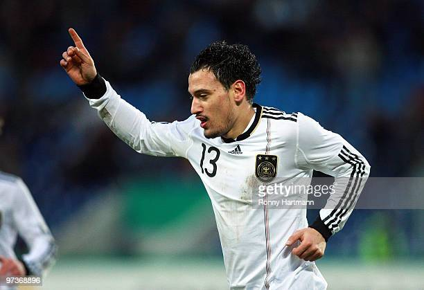 Timo Gebhart of Germany celebrates after scoring during the U21 Euro Qualifying match between Germany and Iceland at the Magdeburg Stadium on March 2...