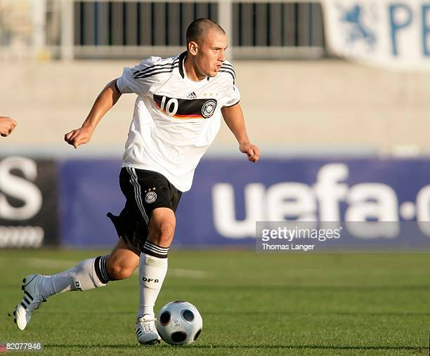 Timo Gebhart of Germany is running with the ball during the U19 European Championship final match between Germany and Italy at the Strelnice stadium...