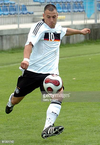 Timo Gebhart of Germany runs with the ball during the UEFA Under 19 European Championship elite round group 4 match between Germany and Albania at...