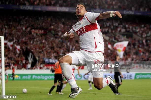 Timo Gebhart of Stuttgart celebrates his team's first goal during the UEFA Europa League playoff second leg match between VfB Stuttgart and SK Slovan...