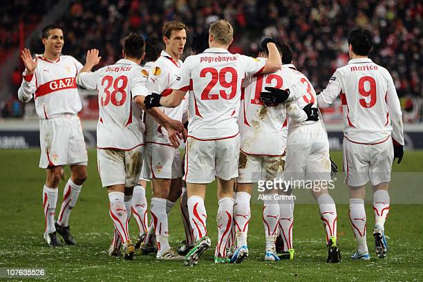 Timo Gebhart of Stuttgart celebrates his team's first goal with team mates during the UEFA Europa League group H match between VfB Stuttgart and...