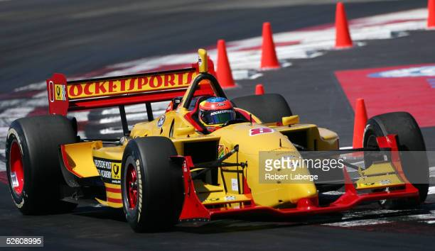 Timo Glock drives his Rocketsports FordCosworth XFE Lola during practice for the Toyota Grand Prix of Long Beach on April 9 2005 in Long Beach...