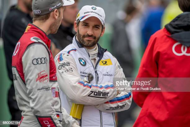 Timo Glock of BMW M4 Team RMG and Rene Rast of Audi Sport Team Rosberg in a talk prior to the start of the DTM Race 2 at the Hockenheimring during...