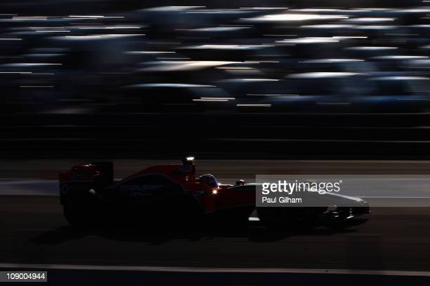 Timo Glock of Germany and Marussia Virgin Racing drives during day two of winter testing at the Circuito de Jerez on February 11 2011 in Jerez de la...