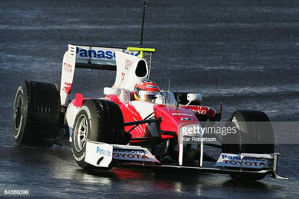 Timo Glock of Germany and Toyota drives the new Toyota TF109 during Formula One winter testing at the Autodromo Internacional do Algarve on January...