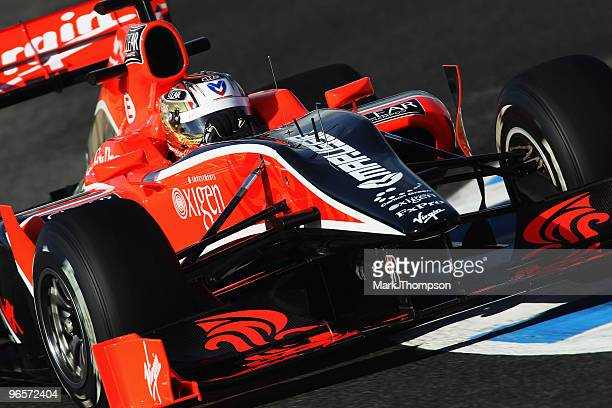 Timo Glock of Germany and Virgin GP drives during winter testing at the Circuito De Jerez on February 11 2010 in Jerez de la Frontera Spain