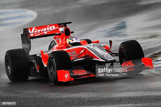 Timo Glock of Germany and Virgin GP drives during winter testing at the Circuito De Jerez on February 17 2010 in Jerez de la Frontera Spain