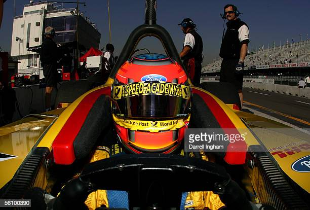 Timo Glock sits aboard the DHL Rocketsports Lola Ford Cosworth during practice for the ChampCar World Series Gran Premio TelmexTecate on November 5...
