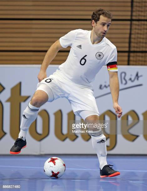 Timo Heinze of Germany runs with the ball during the Futsal international friendly match between Germany and Czech Republic at Ballsport Arena on...