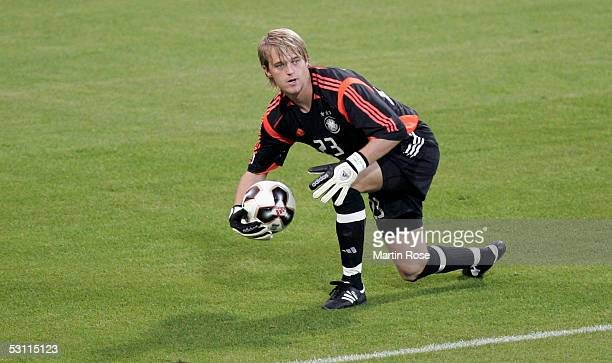 Timo Hildebrand goalkeeper of Germany seen in action during the Confederations Cup 2005 match between Argentina and Germany at the Frankenstadium on...