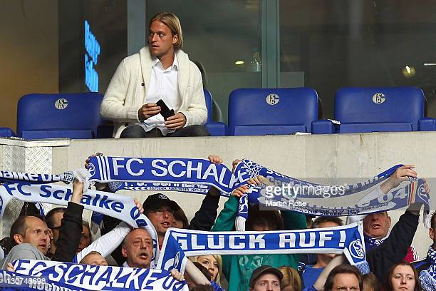Timo Hildebrand new goalkeeper of Schalke sits on the tribune during the Bundesliga match between FC Schalke 04 and 1899 Hoffenheim at Veltins Arena...