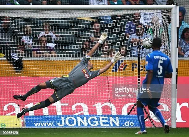 Timo Hildebrand of Hoffenheim concedes the 10 goal scored by Juan Arango of Gladbach during the Bundesliga match between Borussia Moenchengladbach...