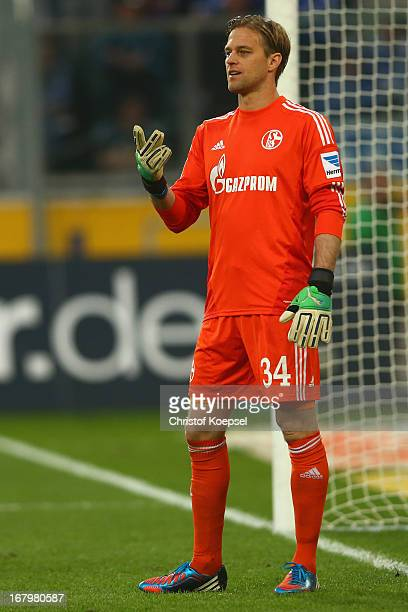 Timo Hildebrand of Schalke issues instructions during the Bundesliga match between Borussia Moenchengladbach and FC Schalke 04 at Borussia Park...