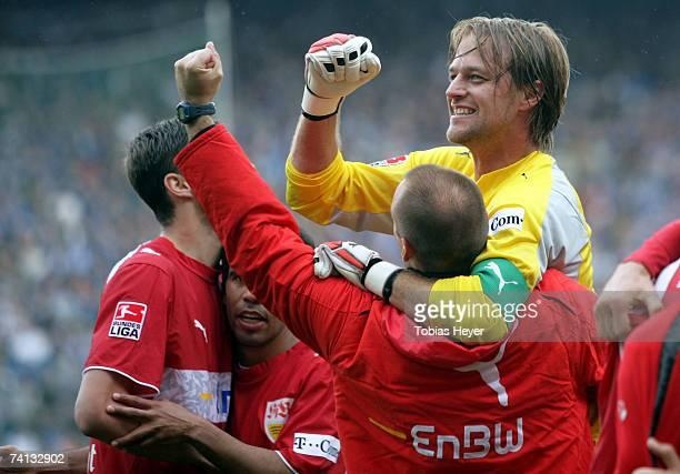 Timo Hildebrand of Stuttgart celebrates the 3:2 win after the Bundesliga match between VfL Bochum and VfB Stuttgart at the rewirpower stadium on May...