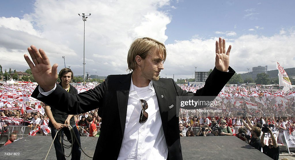Timo Hildebrand of VfB Stuttgart arrives at the Stuttgart Fan Mile at the Cannstatter Wasen on May 27, 2007 in Stuttgart, Germany. Thousands of fans appeared to greet the team the day after they won the 2nd place DFB Cup 2007 match in Berlin.