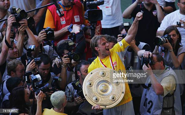 Timo Hildebrand of VfB Stuttgart celebrates after winning the German championships after the Bundesliga match against Energie Cottbus at the...