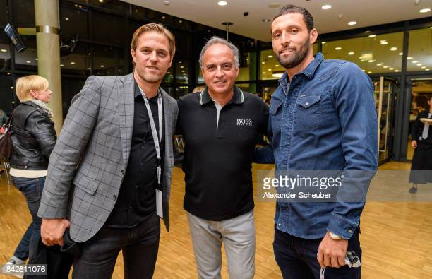 Timo Hildenbrand Hansi Mueller and Kevin Kuranyi attend the Club of former national players meeting during the FIFA 2018 World Cup Qualifier between...