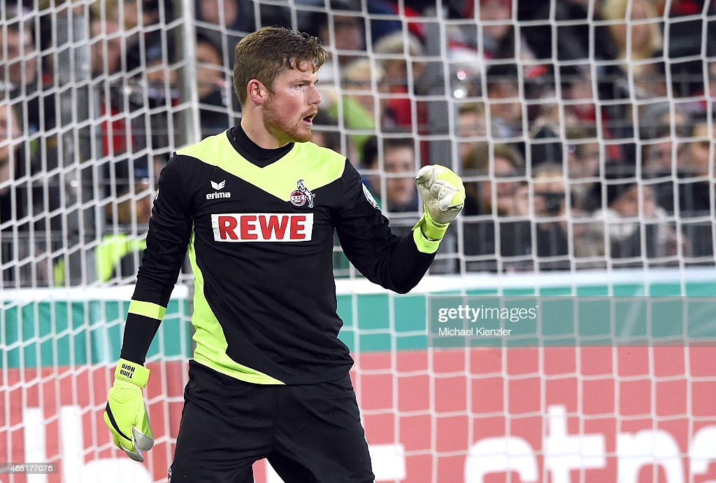 Timo Horn of 1. FC Koeln celebrates saving the penalty of Vladimir Darida during the DFB Cup between SC Freiburg and 1. FC Koeln at Schwarzwald-Stadium on March 3, 2015 in Freiburg, Germany.