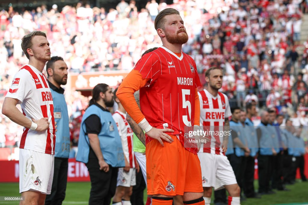 Timo Horn #1 of 1.FC Koeln and players react after the Bundesliga match between 1. FC Koeln and FC Bayern Muenchen at RheinEnergieStadion on May 5, 2018 in Cologne, Germany.