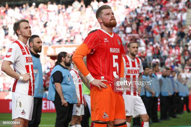 Timo Horn of 1.FC Koeln and players react after the Bundesliga match between 1. FC Koeln and FC Bayern Muenchen at RheinEnergieStadion on May 5, 2018...