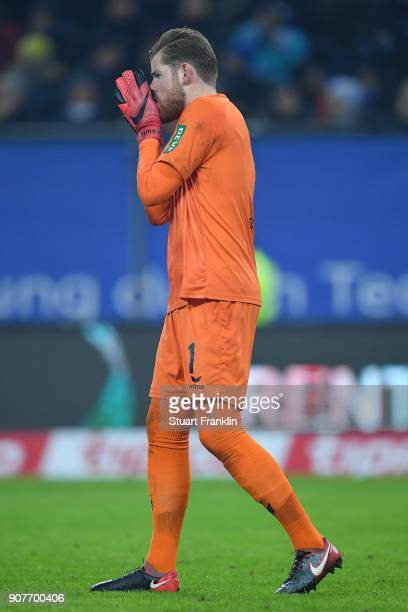 Timo Horn of Koeln covers his face during the Bundesliga match between Hamburger SV and 1 FC Koeln at Volksparkstadion on January 20 2018 in Hamburg...