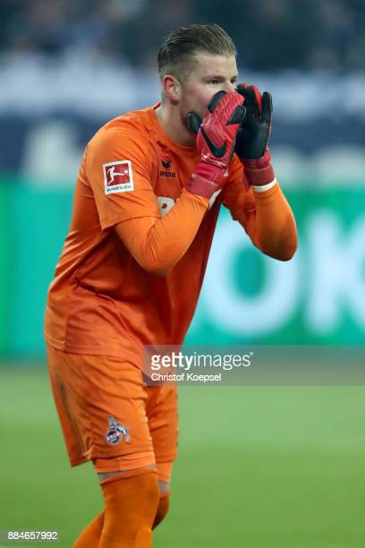 Timo Horn of Koeln issues instructions during the Bundesliga match between FC Schalke 04 and 1 FC Koeln at VeltinsArena on December 2 2017 in...