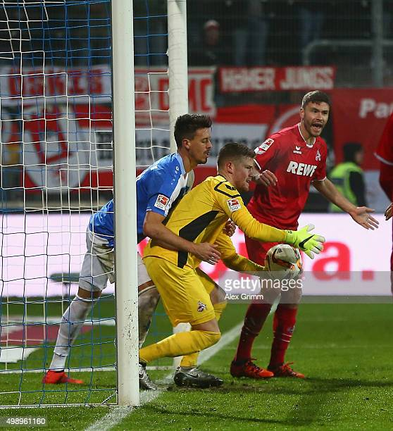 Timo Horn of Koeln save a shot by Sandro Wagner of Darmstadt during the Bundesliga match between SV Darmstadt 98 and 1 FC Koeln at MerckStadion am...