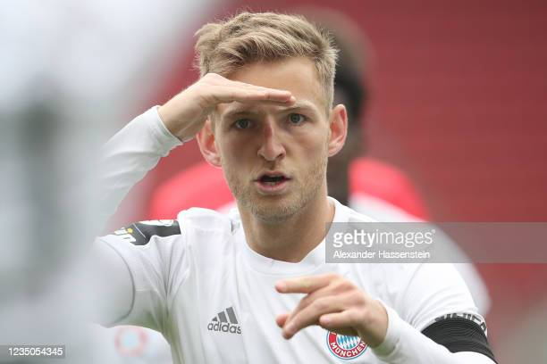 Timo Kern of Bayern Muenchen II celebrates scoring the opening goal during the 3 Liga match between FC Ingolstadt and Bayern Muenchen II at Audi...
