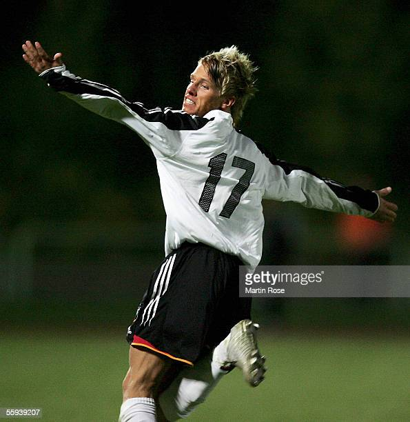 Timo Kunert of Germany celebrates scoring the third goal during the UEFA Under 19 European Championship qualifying match between Germany and Greece...