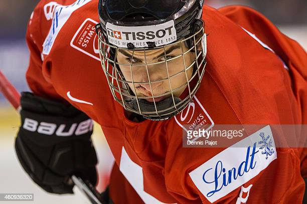 Timo Meier of Switzerland prepares for a faceoff after receiving stitches during the 2015 IIHF World Junior Championship on December 31 2014 at the...