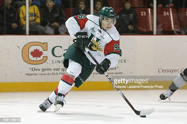 Timo Meier of the Halifax Mooseheads skates with the puck against the Gatineau Olympiques on October 24 2014 at Robert Guertin Arena in Gatineau...
