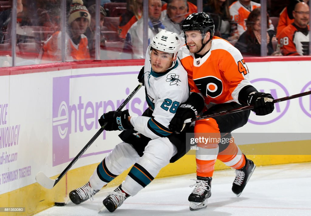 Timo Meier #28 of the San Jose Sharks and Andrew MacDonald #47 of the Philadelphia Flyers fight for the puck in the second period on November 28, 2017 at Wells Fargo Center in Philadelphia, Pennsylvania.
