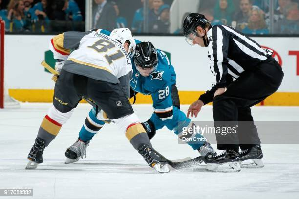 Timo Meier of the San Jose Sharks and Jonathan Marchessault of the Vegas Golden Knights faceoff at SAP Center on February 8 2018 in San Jose...