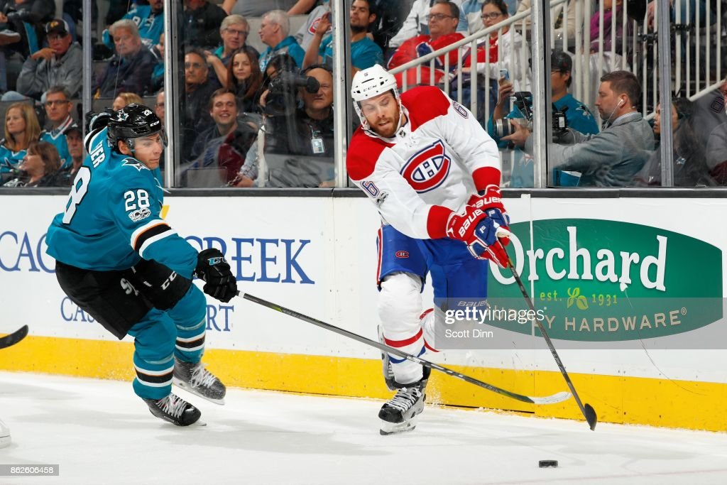 Timo Meier #28 of the San Jose Sharks and Shea Weber #6 of the Montreal Canadiens race for the puck at SAP Center on October 17, 2017 in San Jose, California.