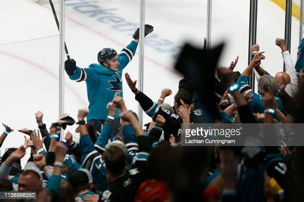 Timo Meier of the San Jose Sharks celebrates a goal in the third period against the Vegas Golden Knights in Game Seven of the Western Conference...