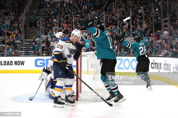 Timo Meier of the San Jose Sharks celebrates after scoring a goal against Jordan Binnington of the St Louis Blues during the second period in Game...