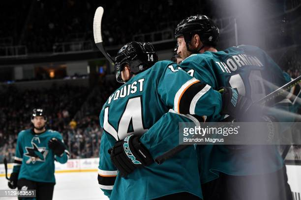 Timo Meier of the San Jose Sharks celebrates after scoring against the St Louis Blues at SAP Center on March 9 2019 in San Jose California